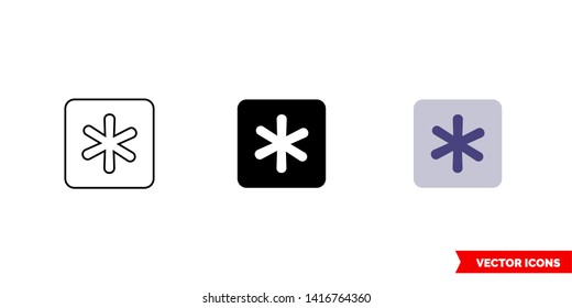 Asterisk key icon of 3 types: color, black and white, outline. Isolated vector sign symbol.