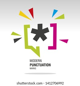 Asterisk mark modern colorful punctuation sign icon sticker