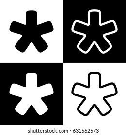 Asterisk star sign. Vector. Black and white icons and line icon on chess board.