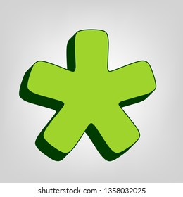 Asterisk star sign. Vector. Yellow green solid icon with dark green external body at light colored background.