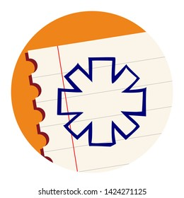 Asterisk Symbol. Free Hand Icon on a Notebook Sheet