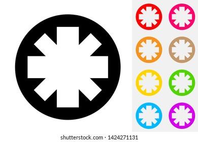 Asterisk Symbol. Negative Space Icon