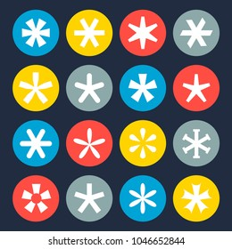 Asterisk symbol set. Symbol collection, colorful pointer mark to an annotation or footnote. Vector flat style cartoon illustration isolated on black background