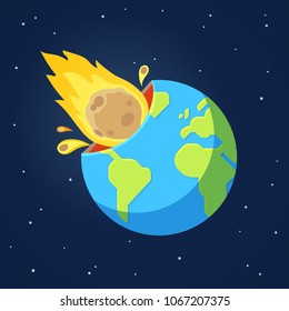 Asteroid comet hits Earth in end of world doomsday scenario. Global catastrophe event. Cartoon style vector illustration.