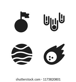 asteroid icon. 4 asteroid vector icons set. asteroids, planet and meteorite icons for web and design about asteroid theme
