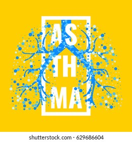 Asthma awareness frame poster with lungs filled with air bubbles on yellow background. Bronchial disease symbol. Medical template for pulmonary clinics and centers. Vector illustration.