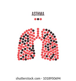 Asthma awareness poster with lungs made of red and black pills on white background. Pulmonary disease symbol. Medical solidarity concept. Human body organ icon. Vector illustration.