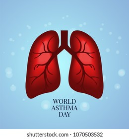 Asthma awareness poster with lungs on bubble textured blue background. Bronchial disease symbol. Medical template for pulmonary clinics and centers. Vector illustration.