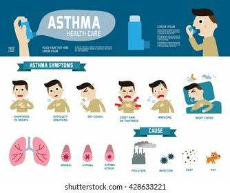Asthma disease vector infographic elements.