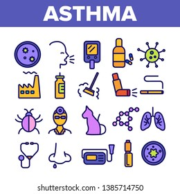 Asthma Illness Vector Thin Line Icons Set. Asthma Medical Condition Symptoms Contour Symbols. Asthmatic Disease Reasons, Treatment. Viruses Affecting Lungs, Respiratory System Outline Illustrations