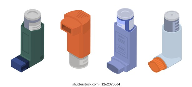 Asthma inhale isometric icon set. Illustration set of asthma inhale isometric vector icons for web design isolated on white background