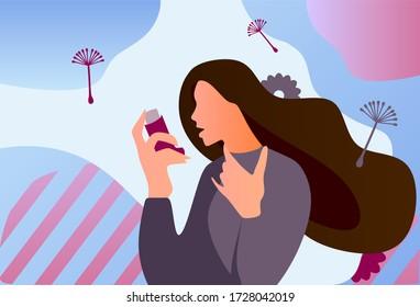 Asthma inhaler help allergic woman. World asthma day. Allergy, asthmatic. Inhalation medicine. Flat vector illustration concept.  Man uses an inhaler against the attack. Bronchial asthma.