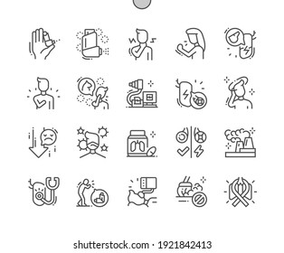 Asthma. Inhaler. Treatment of asthma. Lung diagnostics. Polluted air. Health care, medical and medicine. Pixel Perfect Vector Thin Line Icons. Simple Minimal Pictogram