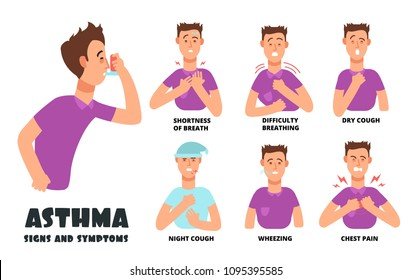 Asthma symptoms with coughing cartoon person. Asthmatic problems vector infographic. Illustration of medical disease, shortness breathing, cough and wheezing