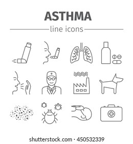 Asthma Symptoms and Symbols. Asthma line icons set.  Vector illustration.