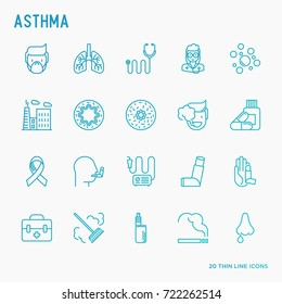 Asthma thin line icons set: air pollution, smoking, respirator, therapist, inhaler, bronchi, allergy symptoms and allergens. Vector illustration.
