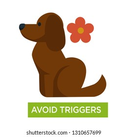 Asthma trigger avoid dogs fur and flowers allergy vector breathing problem asthmatic disease or illness prevention respiratory sickness medicine and healthcare treatment medical advice respiration