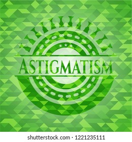 Astigmatism green emblem with mosaic ecological style background