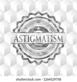 Astigmatism grey badge with geometric cube white background