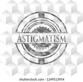 Astigmatism grey emblem with cube white background