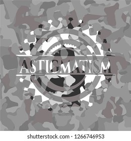 Astigmatism on grey camouflaged pattern