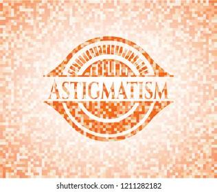 Astigmatism orange mosaic emblem with background