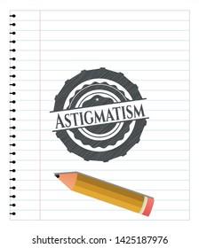 Astigmatism pencil effect. Vector Illustration. Detailed.