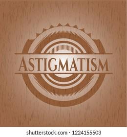 Astigmatism retro style wooden emblem