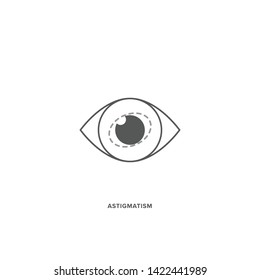 Astigmatism Vector Icon. Irregular Cornea Shape. Clean, Minimal, and Flat Vector Icon for Web, App or Print. EPS10 Illustrator with Layers. Easy to Edit.