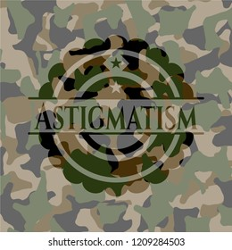 Astigmatism written on a camouflage texture
