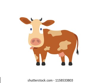 Astonished Guernsey Cow with pots sticking out tongue. Cute cow caricature with big head and small body in cream and brown colors.