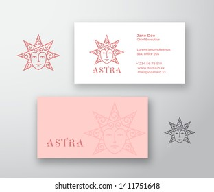 Astra Abstract Vector Logo and Business Card Template. Star Silhouette as a Beautiful Woman Face with Curly Hair. Premium Stationary Realistic Mock Up. Isolated.