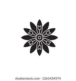 Astra flower black vector concept icon. Astra flower flat illustration, sign