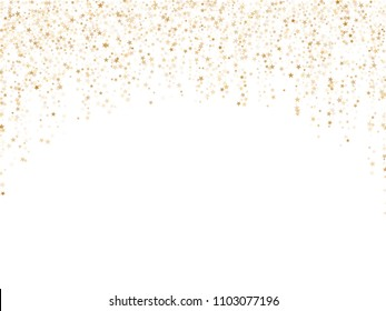 Astral vector star background magic gold sparkle pattern. Confetti glitter decoration. Holiday gold sparkles falling vector.   Confetti stars flying garland lines background.