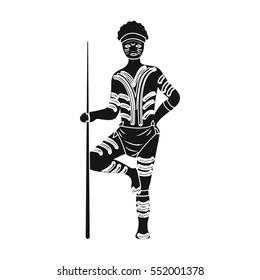 Astralian aborigine icon in black style isolated on white background. Australia symbol stock vector illustration.