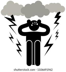 Astraphobia. Astrapophobia. Brontophobia. Keraunophobia. Tonitrophobia. Fear of thunder and lightning. Man Plugs His Ears With His Hands. Afraided man. Logo, icon, silhouette, sticker, sign. Phobia.