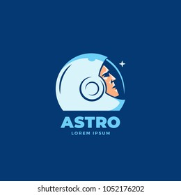Astro Abstract Vector Sign, Emblem, Icon or Logo Template. Space Suit Helmet and Astronaut Face Silhouette Looking at the Star. Blue Background.