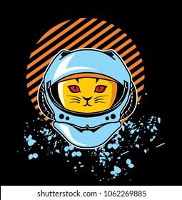 astro cat animal astronaut colored illustration design