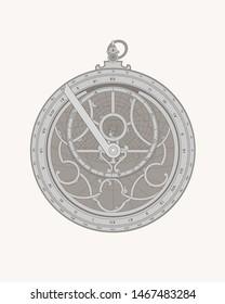 Astrolabe with zodiac circle pattern