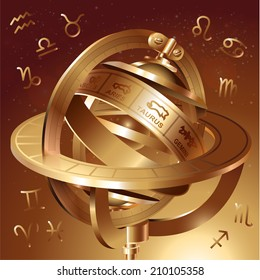 Astrological background with astrolabe. Vector illustration