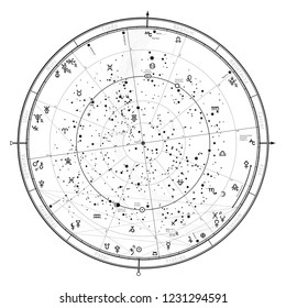 Astrological Celestial map of Northern Hemisphere.  Horoscope on January 1, 2019 (00:00 GMT).  Detailed outline chart with symbols and signs of Zodiac, planets, asteroids & etc.