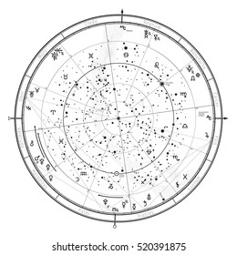 Astrological Celestial map of Northern Hemisphere. Horoscope on January 1, 2017 (00:00 GMT).  Detailed outline chart with symbols and signs of Zodiac, planets, asteroids & etc.