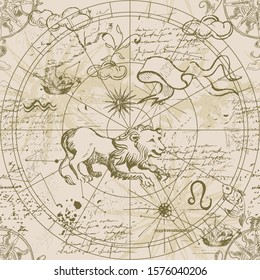 Astrological chart of the starry sky. Leo constellation. Seamless patterns. Hand drawing.