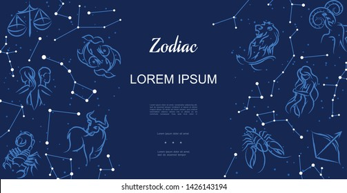 Astrological horoscope signs template with zodiac symbols and constellations on blue sky background vector illustration