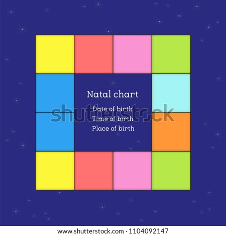 Astrological Natal Chart The With Planets In Houses Color Background Zodiac