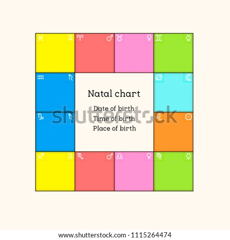 Astrological Natal Chart Planets Houses Color Stock Vector Royalty