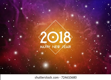 Astrological New Year 2018 Greeting Card or Calendar Cover on Cosmic Background.