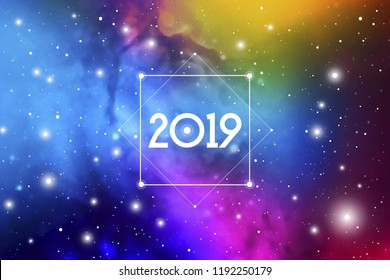 Astrological New Year 2019 Greeting Card or Calendar Cover on Cosmic Background.