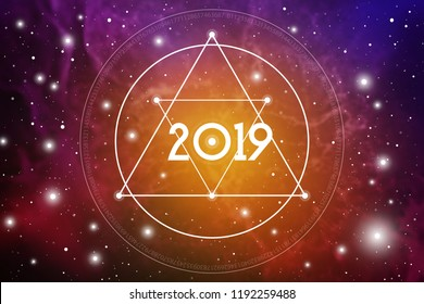 Astrological New Year 2019 Greeting Card or Calendar Cover on Cosmic Background with Interlocking Triangles and Particles.
