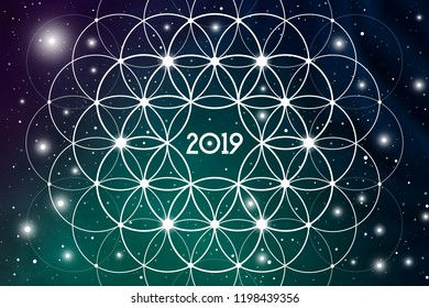 Astrological New Year 2019 Greeting Card or Calendar Cover on Cosmic Background inside of Flower of Life sacred geometry interlocking circles symbol.